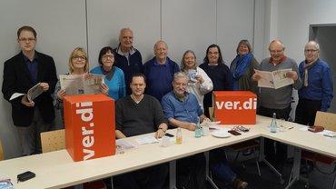 Vorstand des ver.di OV-Oldenburg mit dem Gast Ernst Lorenzen von der ABC-Selbsthilegruppe Oldenburg, sowie Heike Klattenhoff  und Malte Diehl.
