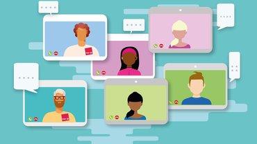Videokonferenz Online-Meeting Zoom WebEx Illustration
